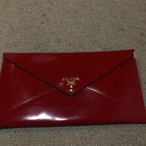 Authentic rare vintage Prada red envelope clutch